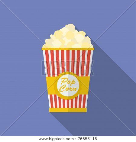 Icon Of Popcorn. Flat Style