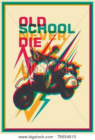 Retro poster with moped. Vector illustration.