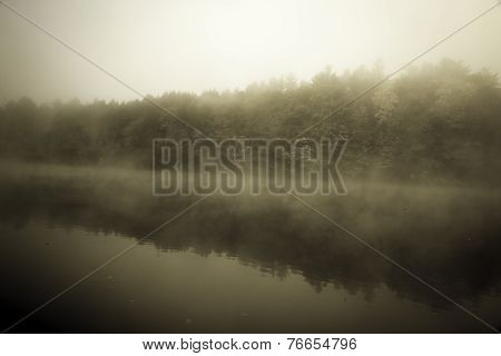 River in fog, vintage photo.
