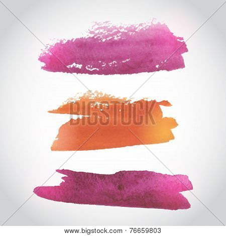 Painted Pink And Orange Watercolor Background. Watercolor Wash. Ombre Watercolor Background. Vector
