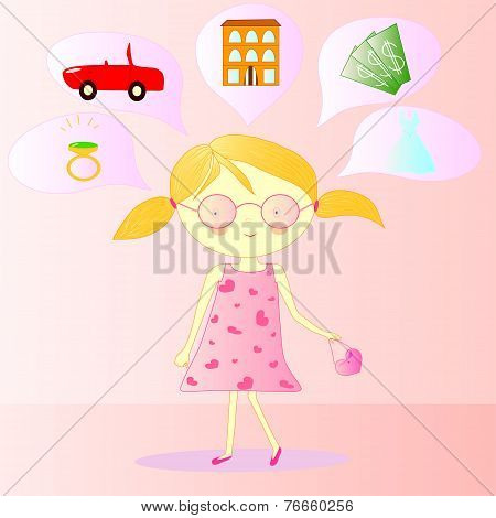 Illustration Of A Girl With Dreams