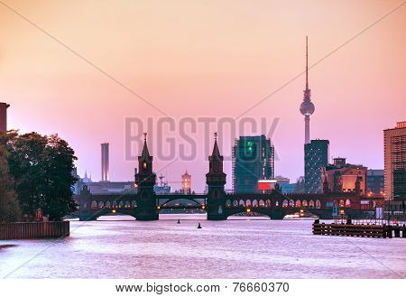 Berlin Cityscape With Oberbaum Bridge