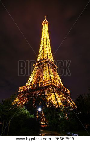 Eiffel Tower In Paris, France At Night