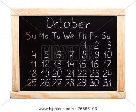 2015 year calendar. October. Week start on sunday