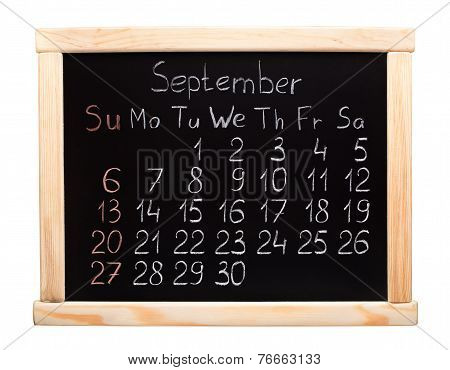 2015 calendar. September. Week start on sunday