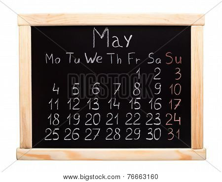 2015 year calendar. May. Week start on monday