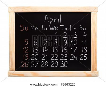 2015 year calendar. April. Week start on Sunday