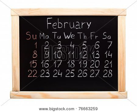 2015 year calendar. February. Week start on sunday