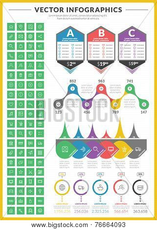 Big Pack Of Data Visualization Vector Infographics And Design Elements With Business Bar, Charts, Gr