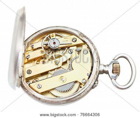 Top View Of Brass Clockwork Of Retro Silver Watch