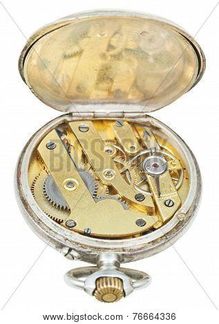 Brass Clockwork Of Retro Silver Pocket Watch
