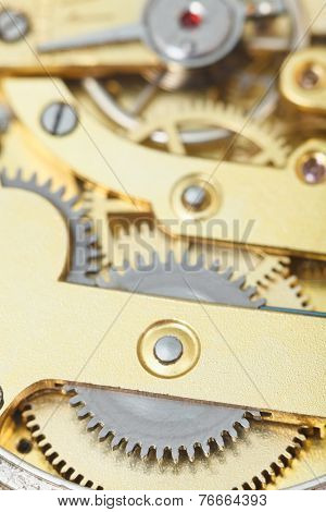 Background From Brass Clockwork Of Retro Clock