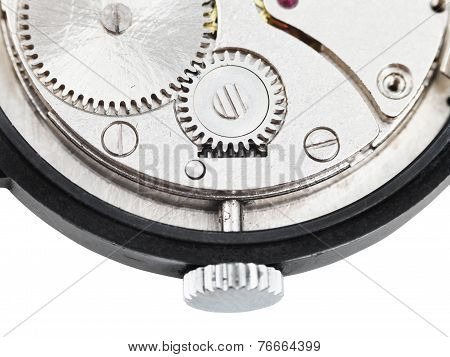 Back Side Of Open Old Wristwatch Isolated On White