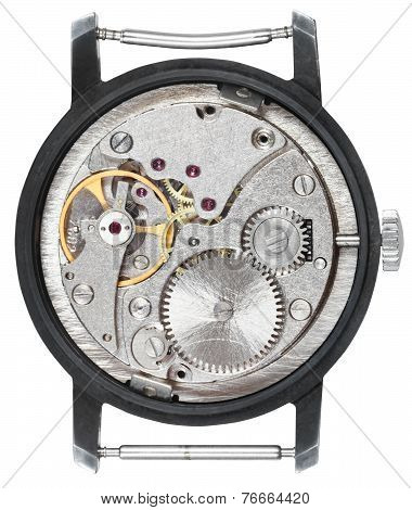 Steel Clockwork Of Old Wristwatch Isolated