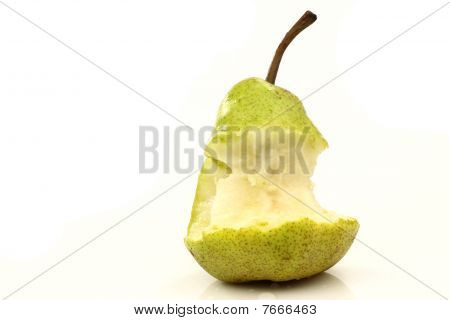 A pear being eaten