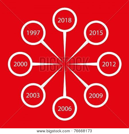 vector time line white on red