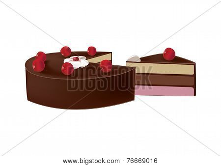 Delicious Chocolate Cake With Cherries