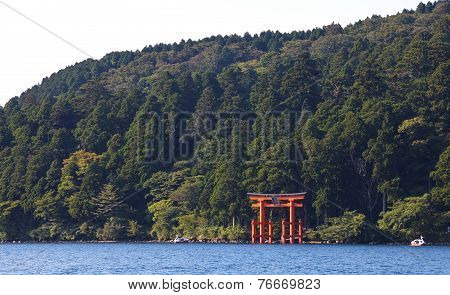 Japanese red torii gate at lake ashi hakone city