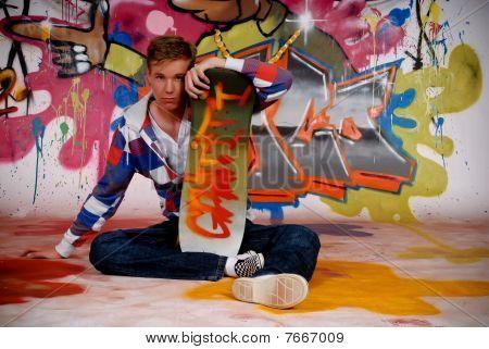 Boy Skateboard, Graffiti Wall