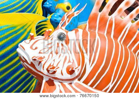 lionfish colorful statue