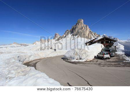 alpine scenery at Dolomites passo Giau