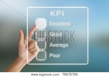 Hand Pushing Kpi Or Key Performance Indicator On Virtual Screen