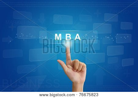 Hand Press On Mba Or Master Of Business Administration Button On Touch Screen