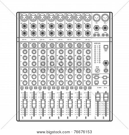 outline eight channels professional studio sound mixer