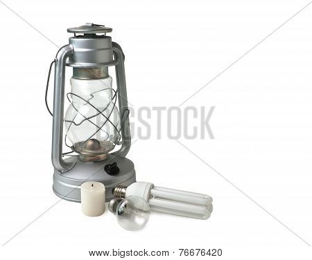 Candle,  Kerosene Lamp, And Electric Lamps