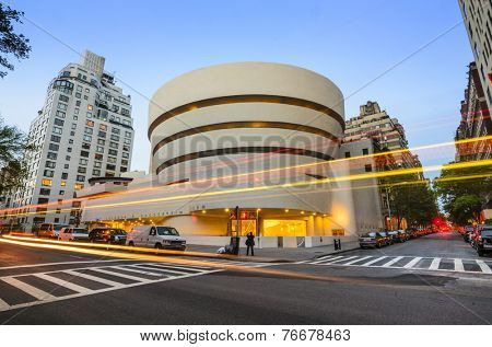 New York City, USA - May 12, 2012: The Guggenheim Museum on 5th Ave was established in 1937, though the current museum building dates from 1959 and was designed by famed architect Frank Lloyd Wright.