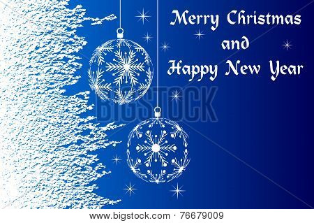 blue Merry Christmas and Happy New Year