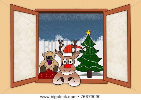 Santas Nosey Reindeer
