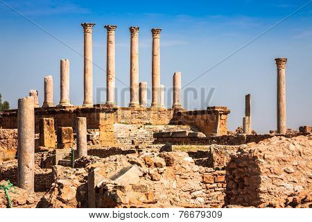 Thuburbo Majus, Tunisia A Few Of The Remaining Pillars Which Once Builded The Capitol