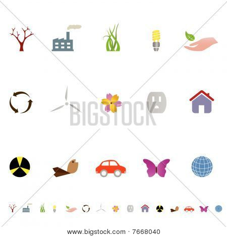 Environment related eco symbols icon set