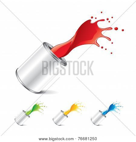 Paint Can With Splashes Isolated On White Vector