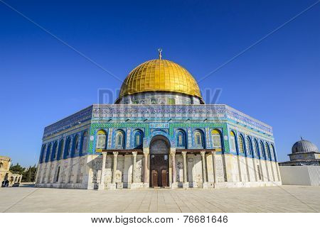 Jerusalem, Israel at the Dome of the Rock, one of the oldest works of Islamic Architecture.