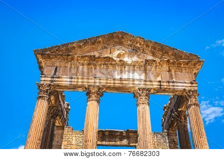 Remaining Of The Roman City Of Dougga With The Capitol, Tunisia