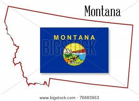 Montana State Map And Flag