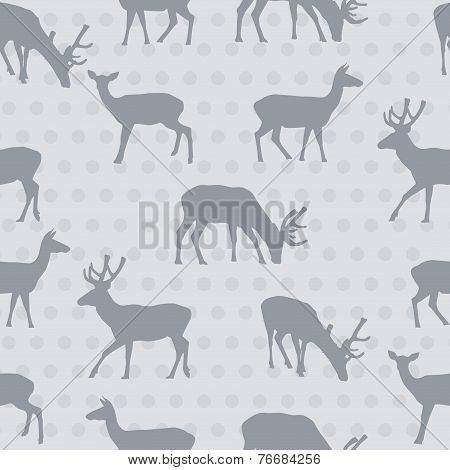 Seamless Pattern With Deer Vector