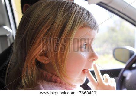 Little Girl Blond Profile Car Vehicle Interior Portrait