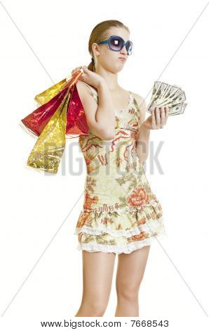 Shopper Girl Running Short On Cash
