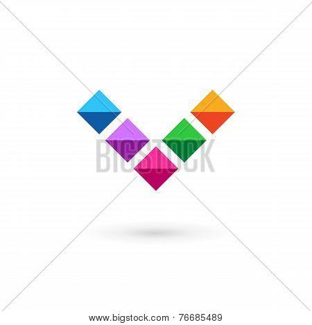Letter V Mosaic Crystal Logo Icon Design Template Elements