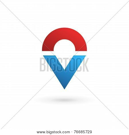 Letter V Geotag Logo Icon Design Template Elements