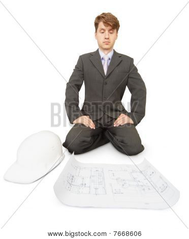 Engineer Is Thinking Over Drawing