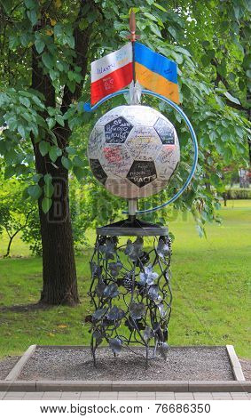 forged figure dedicated Euro 2012 in park of Donetsk