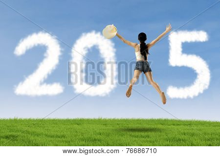 Excited Woman Flying In Field