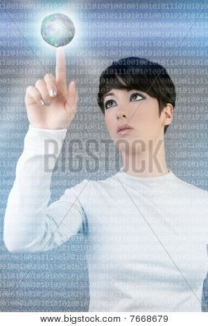 Digital Futuristic Businesswoman Global Planet Touch