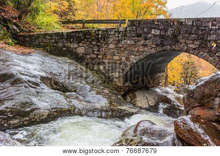 Creek Underneath Stone Bridge In Fall