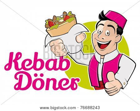 funny cartoon man with doner and german text that means kebab doner
