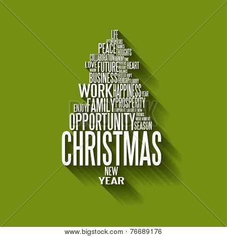 Vector Abstract christmas tree made from white seasonal words